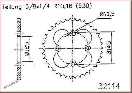 Kettenrad für Suzuki LT 400 Mod. 09 Quad ATV