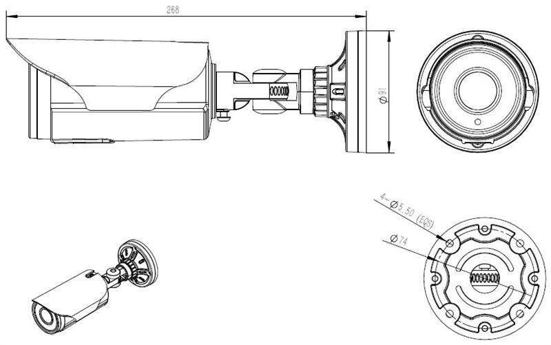 HAWK-C1080Q, 4-in-1 HD-TVI, AHD, CVI, or CVBS Cylinder