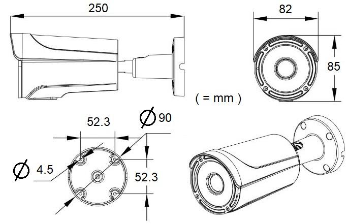 HAWK-C2MW, HD-TVI 2MP Varifocal Cylinder Camera with IR