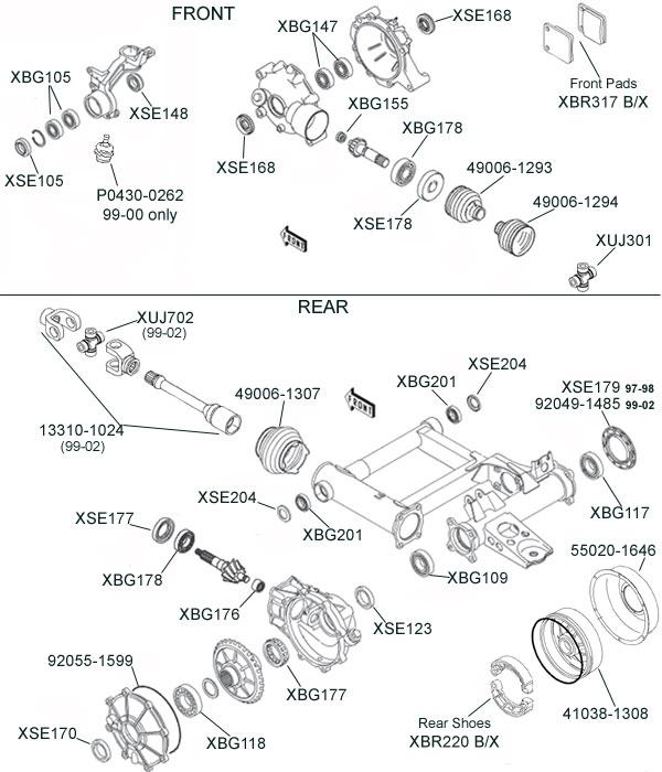 Kawasaki KLF300/KLF400 Bayou Parts Diagram
