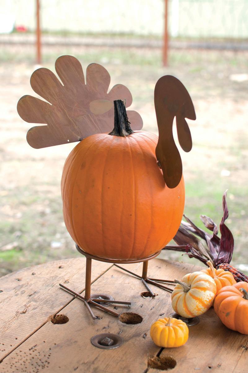 rustic metal turkey shaped pumpkin parts