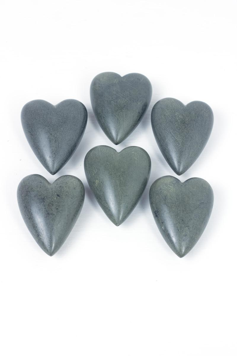 Set Of 6 Hand Carved Stone Hearts Dark Grey