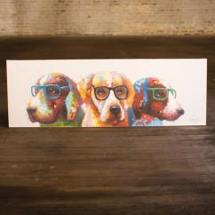 Coastal Kitchen Decor Stools Ikea Oil Painting \ Colorful Dogs With Glasses