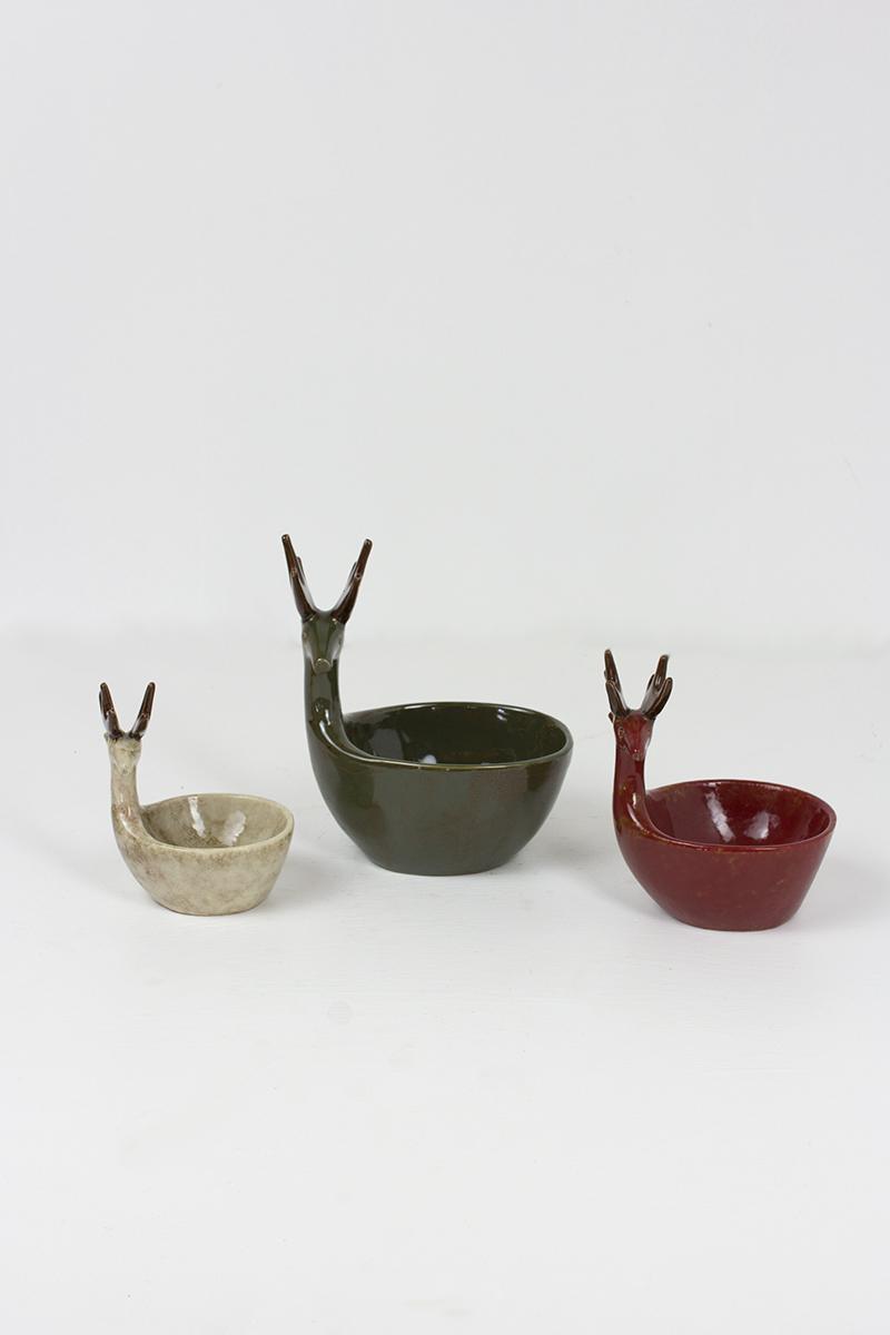 set of 3 ceramic deer bowls