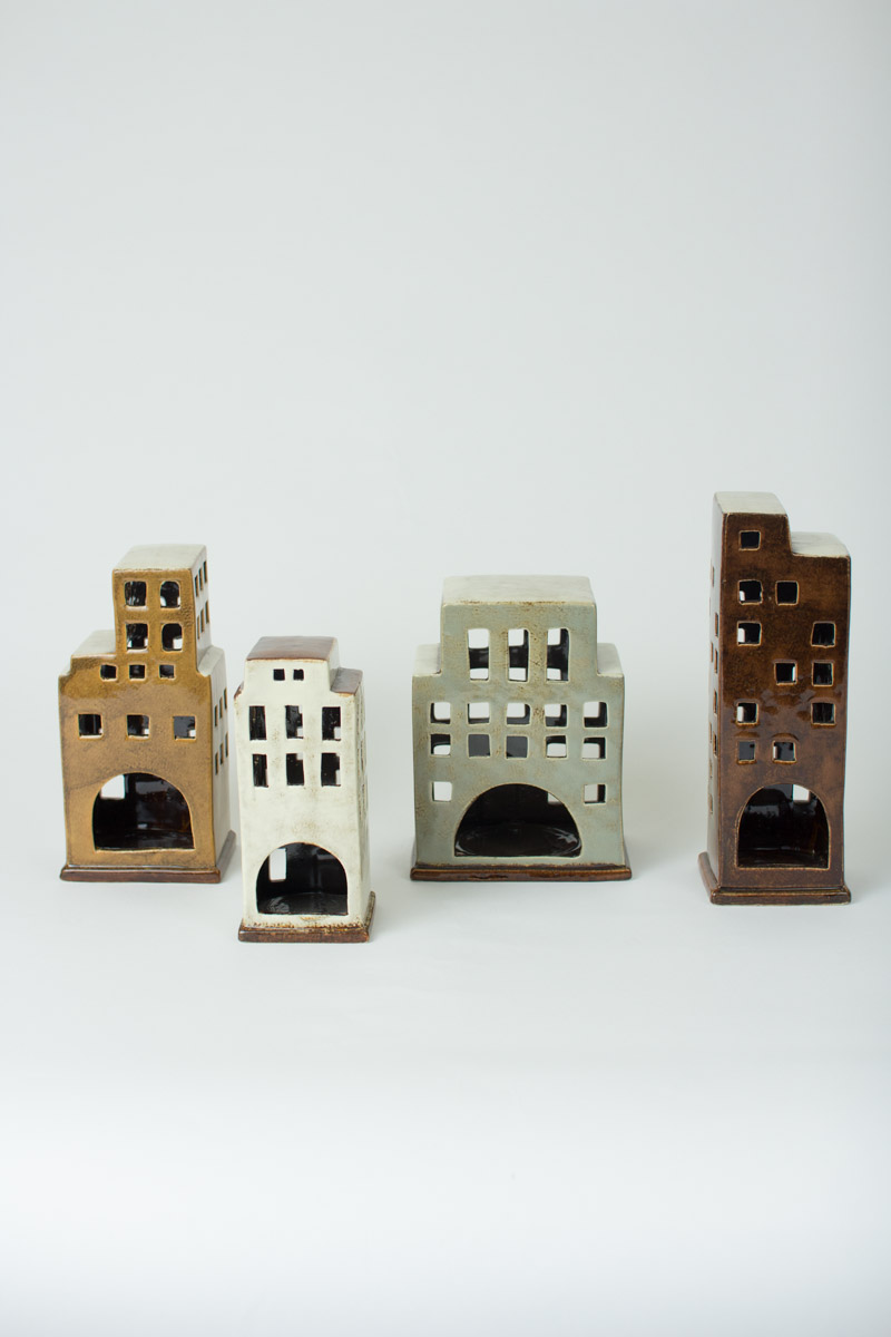 Set Of 4 Ceramic Building Candle Holders