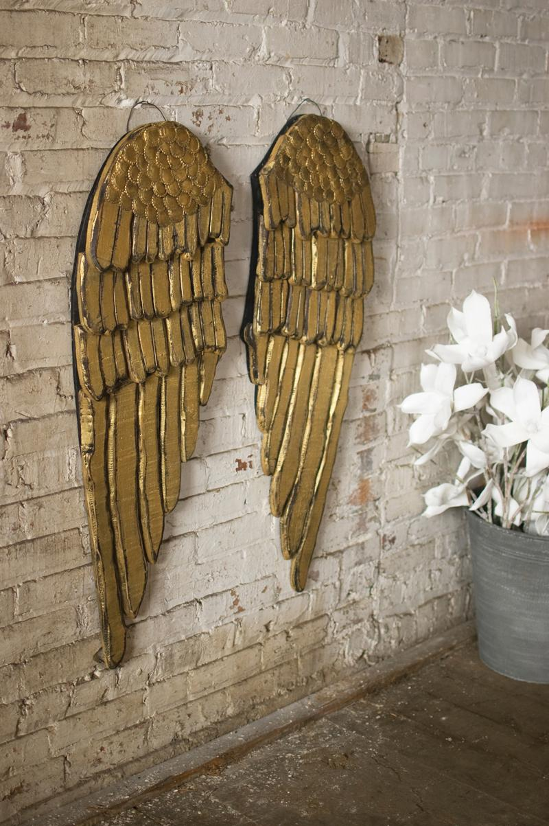 set of 2 painted wooden angel wings