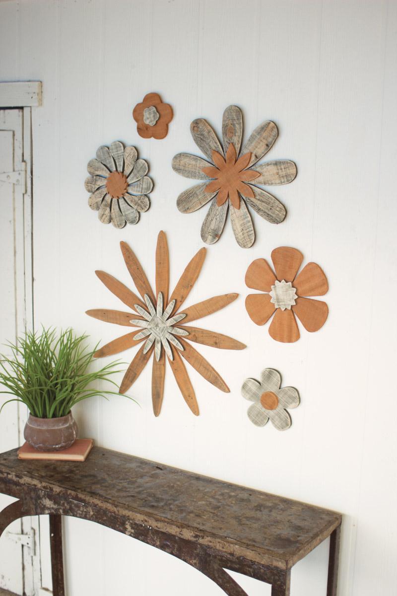 set of 6 wooden flower wall art