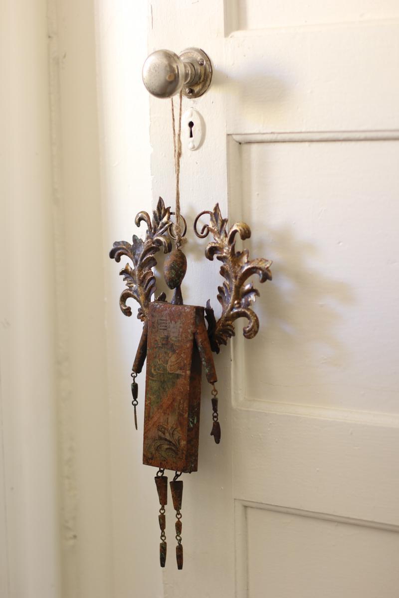rustic metal angel bell ornament