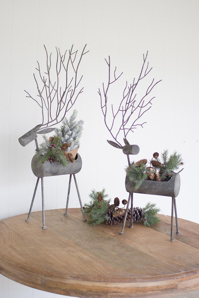 wall lamps living room white marble table set of 2 metal deer planters rustic grey