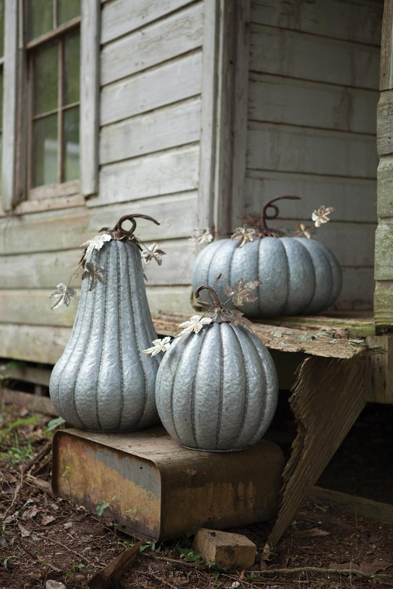 galvanized pumpkin with rustic detail