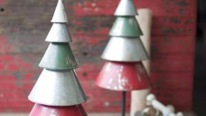 Set Of 2 Galvanized Red Green Metal Trees