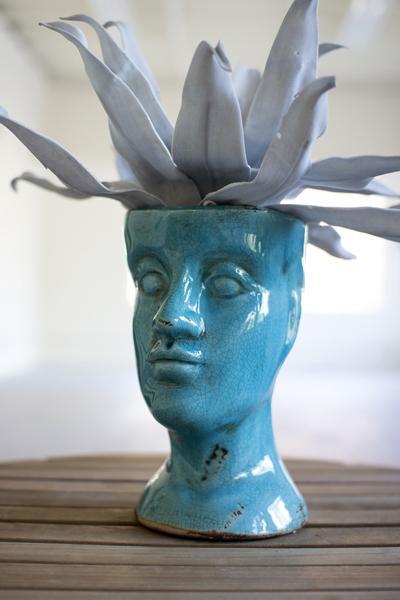 best lighting for kitchen cabinet design app blue ceramic head vase | human shaped