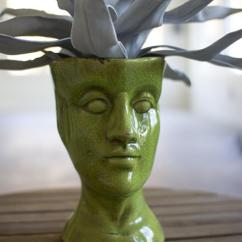 Fruit Decor For Kitchen Outdoor Islands Sale Green Ceramic Head Vase | Human Shaped
