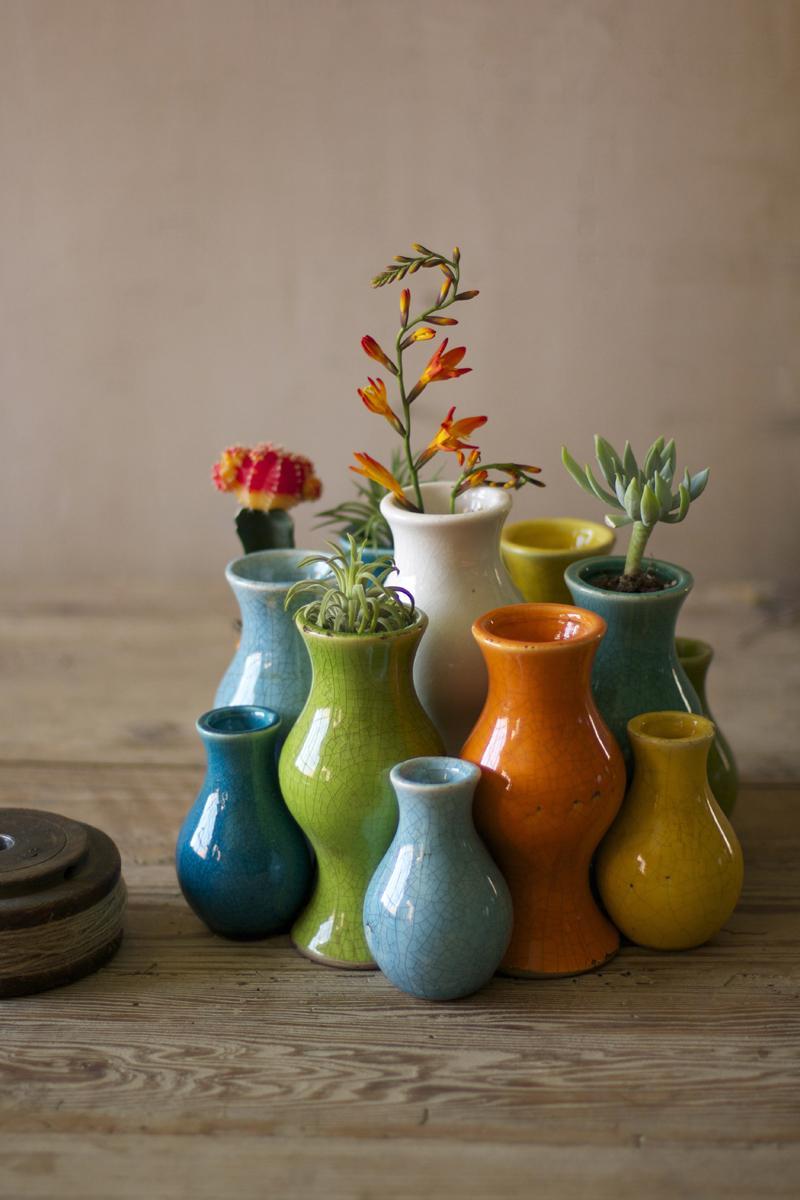 set of nine brightly colored cylinder bud vases three