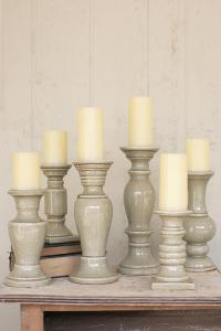 set of 6 grey ceramic candle holders
