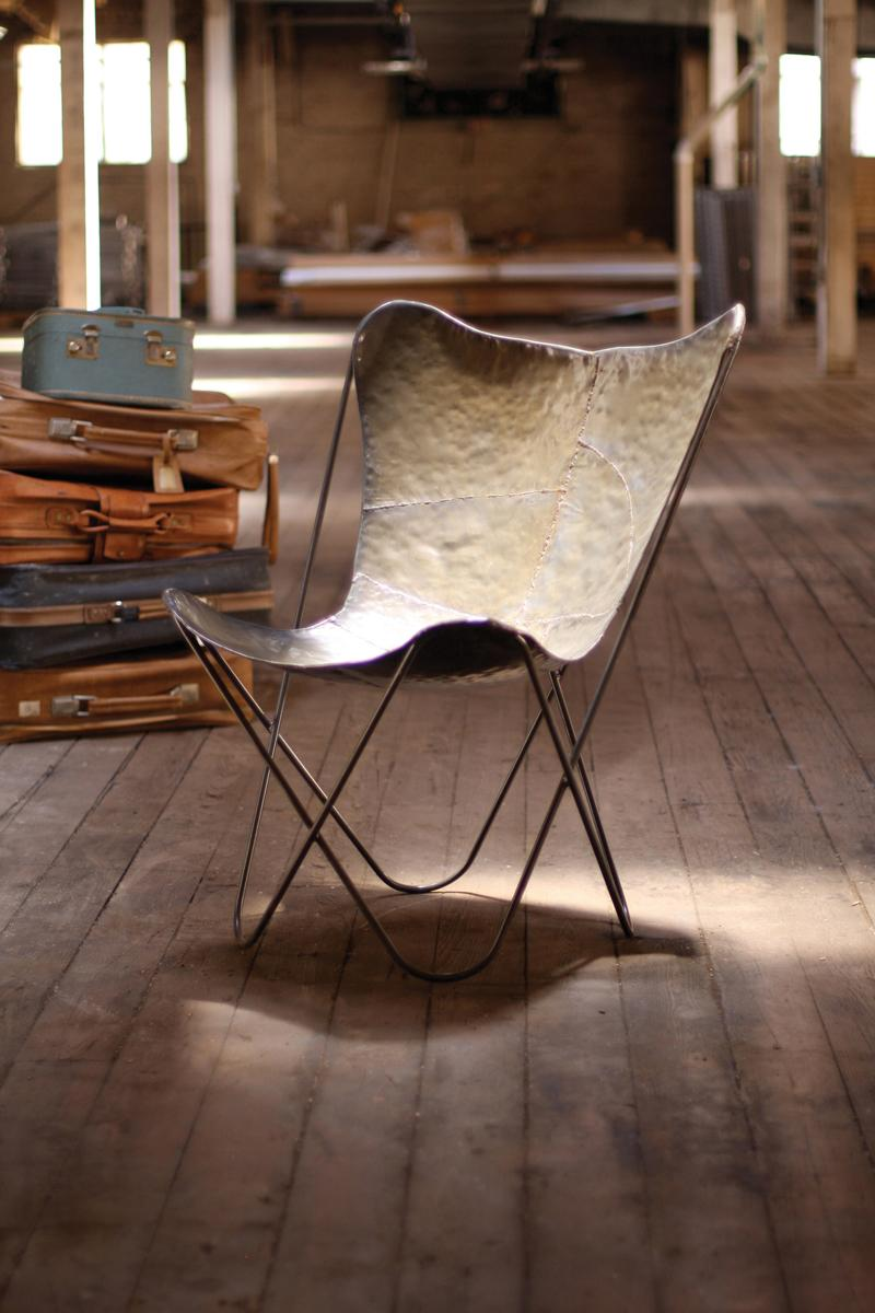 Iron Butterfly Chair Industrial Furniture Raw Metal Finish