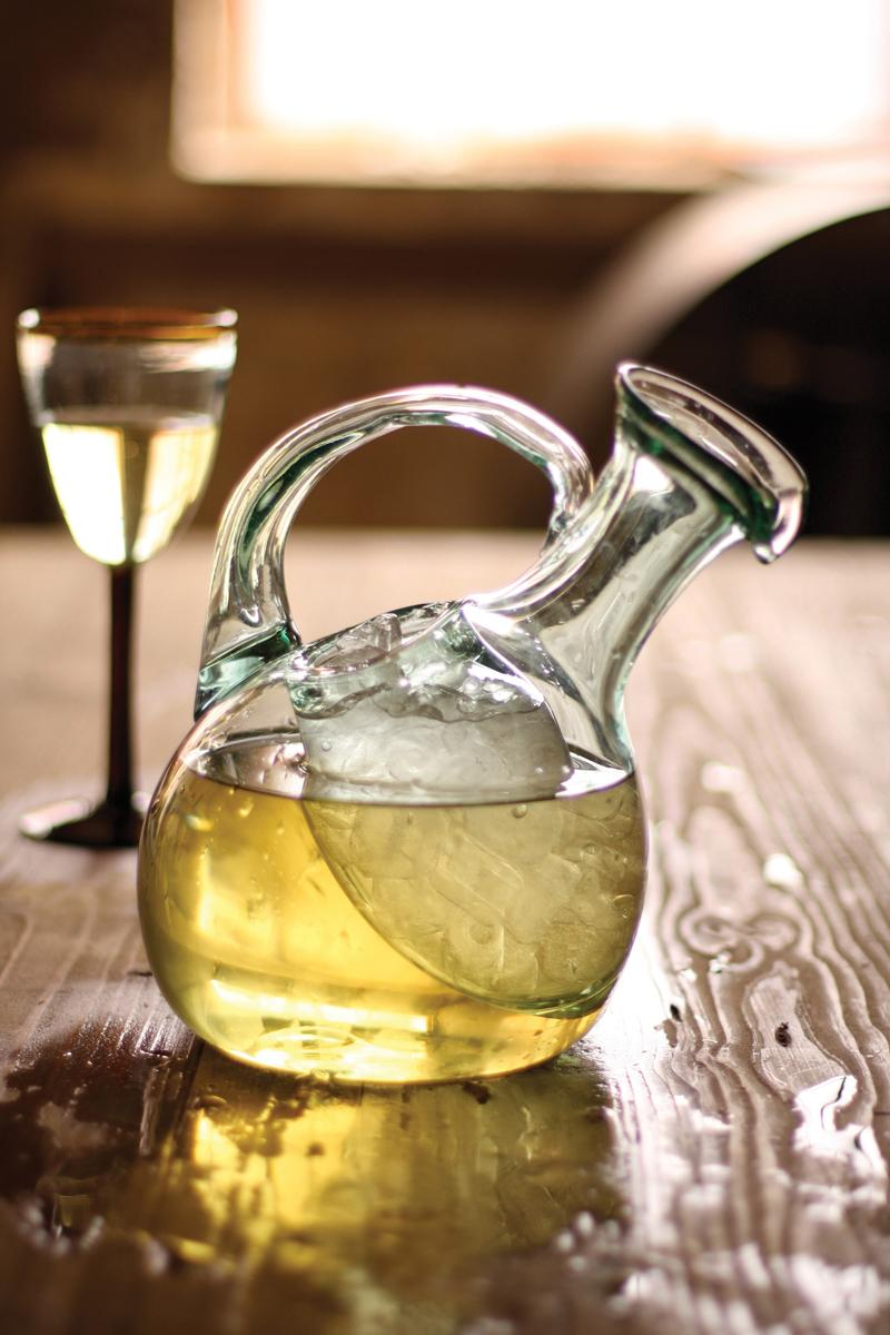 tilted wine decanter with ice pocket  recycled glass wine