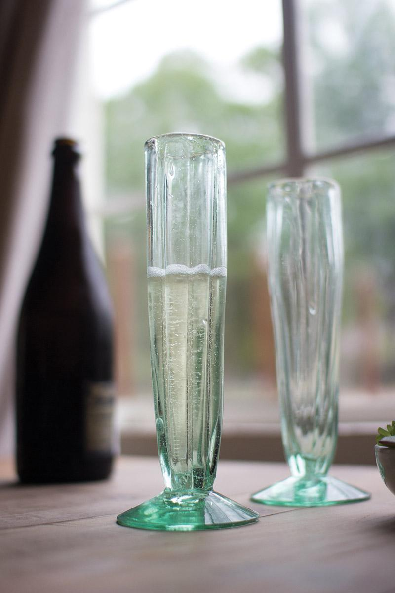 kitchen serving cart swan granite sinks set of 6 recycled glass champagne flute \ fluted cone