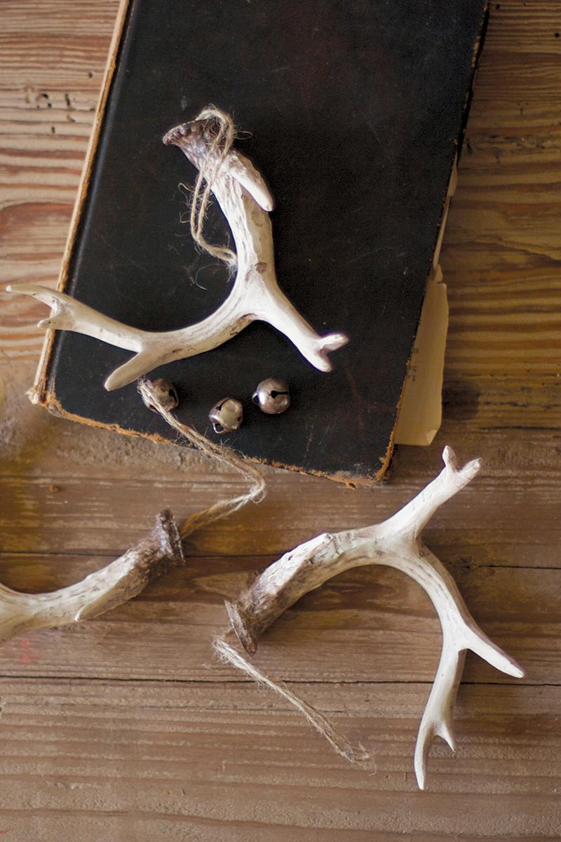 set of six resin antler ornaments natural