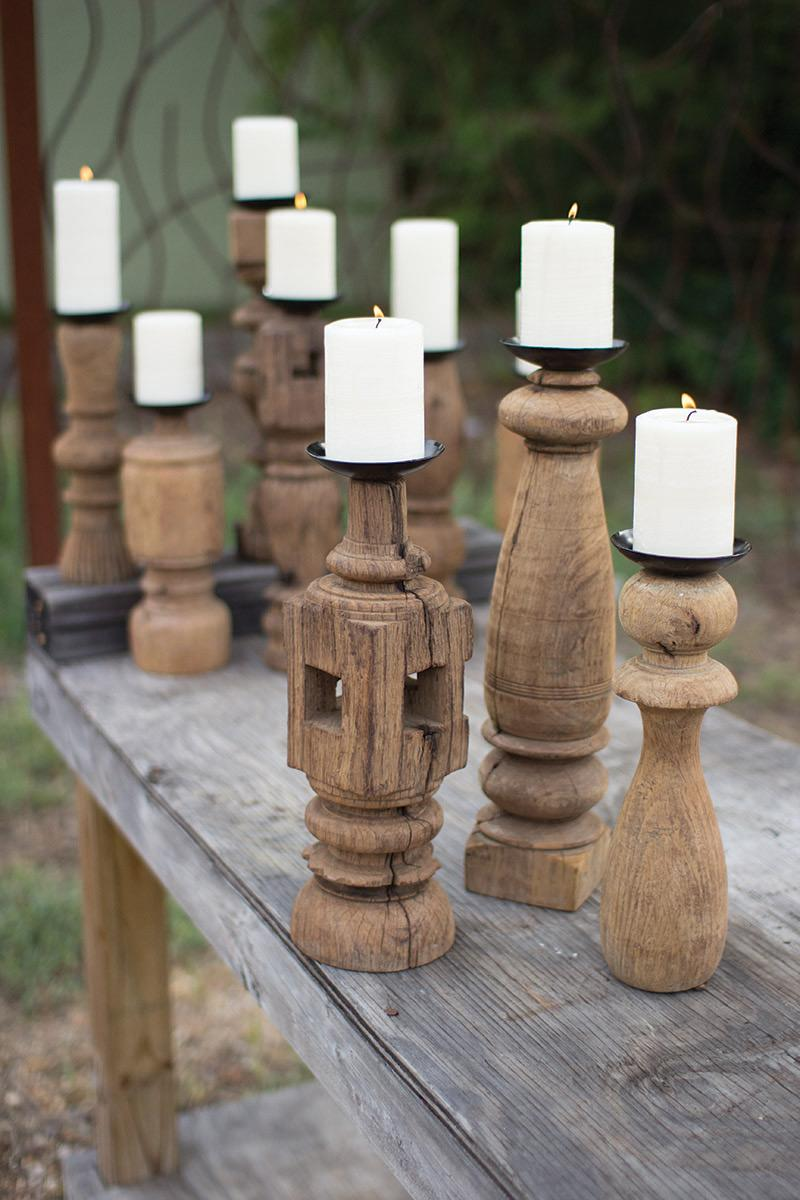 set of 3 reclaimed wooden furniture leg candle holders