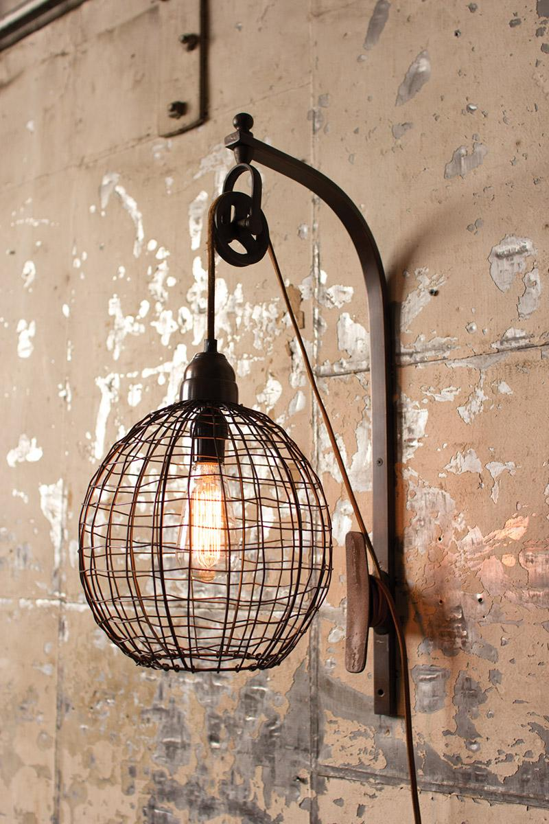 wire wall lamp wiht pulley  sphere