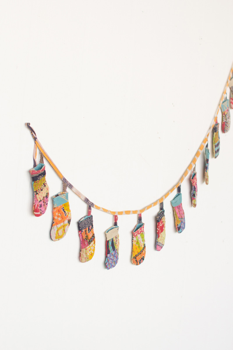 nice art for living room decor with gray couch recycled kantha fabric christmas stockings garland