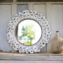 Small Round Kitchen Tables Sink Basket Oyster Shell Mirror \ Large