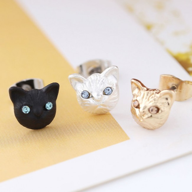 Cute Animal Accessories Cat Face Earrings Girls Kitten