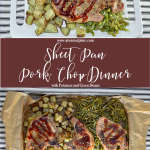"Instagram Post for Sheet Pan Pork Chop Dinner. Top photo is angle view of a white rectangle dish with roasted potatoes, green beans and pork chops topped with bbq sauce. Background is a black and white towel. Below is a maroon box with white lettering stating ""Sheet Pan Pork Chop Dinner with Potatoes and Green Beans."" Bottom picture is potatoes, green beans and 3 pork chops on a sheet pan with parchment paper. www.atwistedplate.com"
