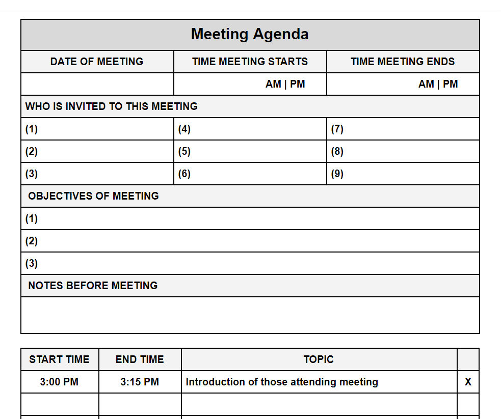 Use an agenda template for gatherings of any. Meeting Agenda Template