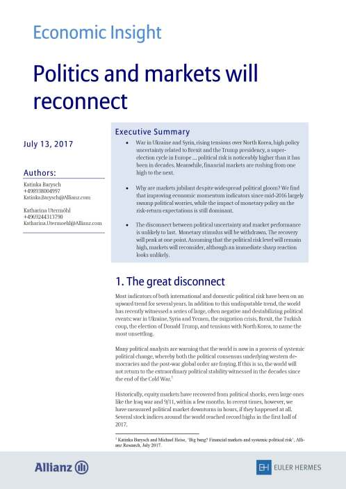 Politics and markets will reconnect