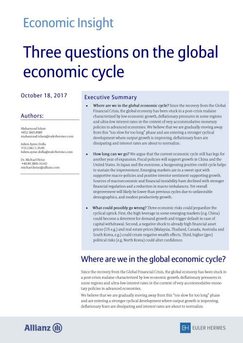 Three questions on the global economic cycle