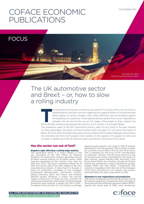The UK automotive sector and Brexit - or, how to slow a rolling industry