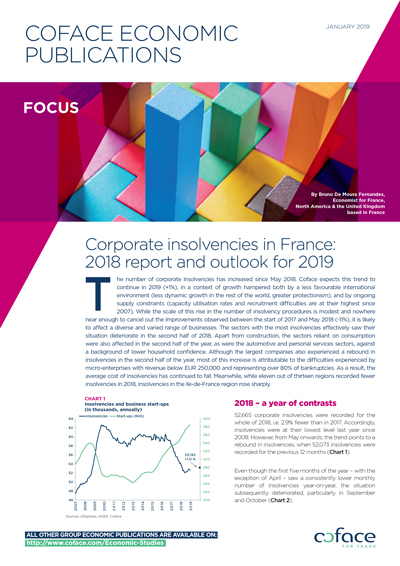 Corporate insolvencies in France: 2018 report and outlook for 2019
