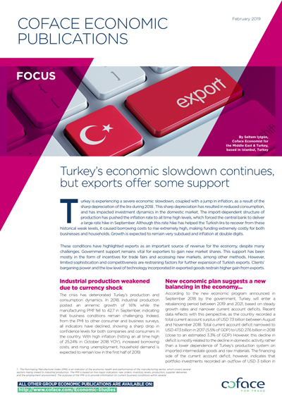 Turkey's economic slowdown continues, but exports offer some support