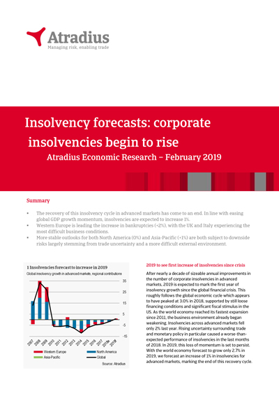 Insolvency forecasts: corporate insolvencies begin to rise