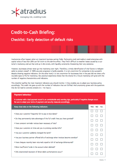 Credit-to-Cash Briefing - Checklist - Early detection of default risks
