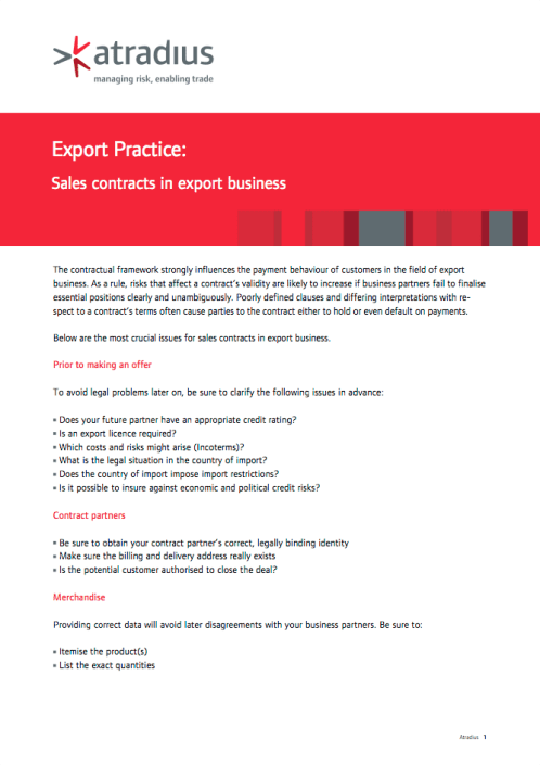 Export Practice - Sales contracts in export business