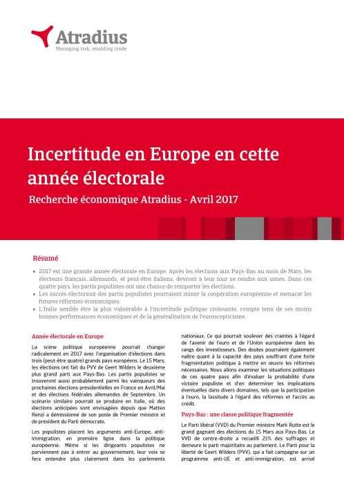 Incertitude en Europe en cette année électorale