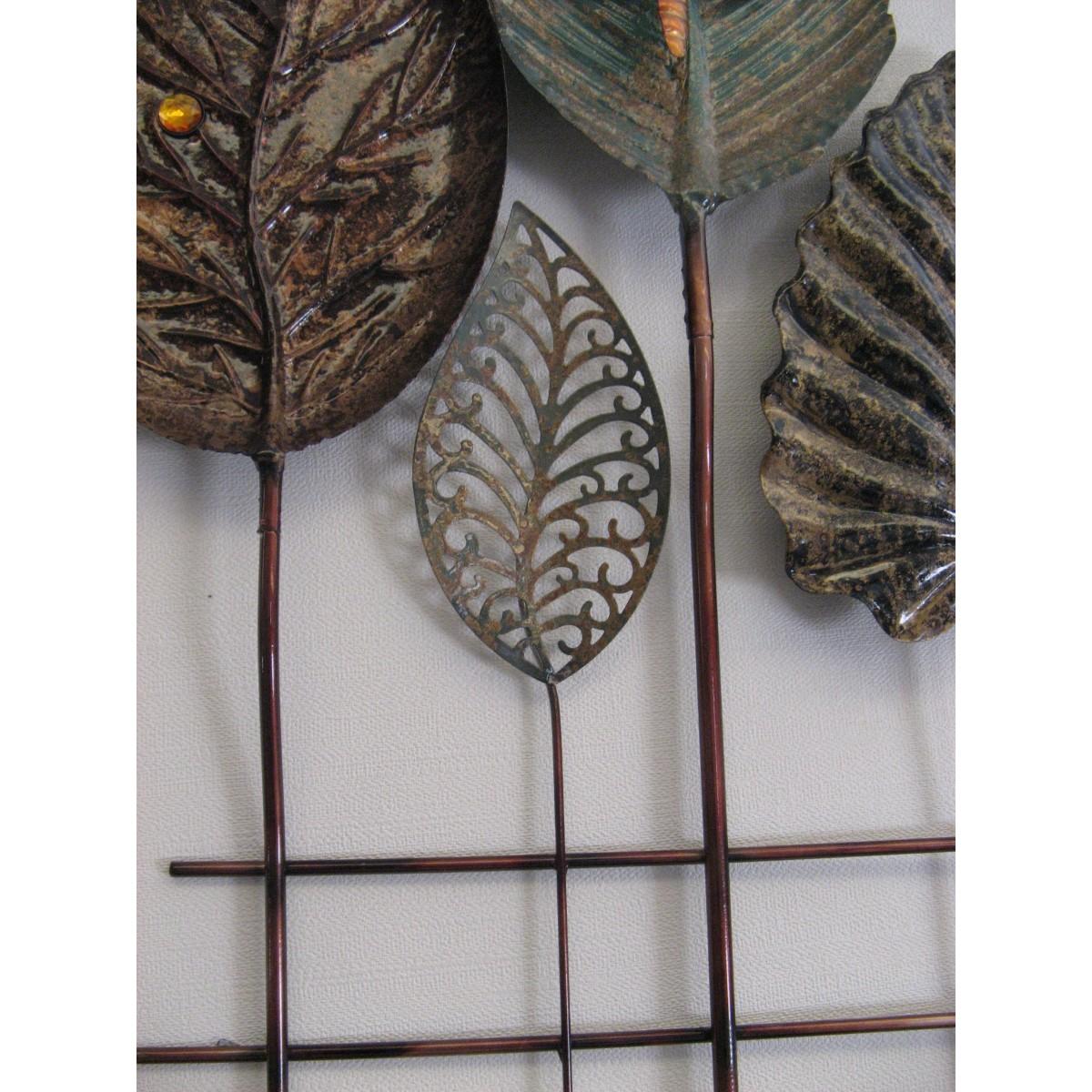 dcoration murale en mtal en forme de feuilles