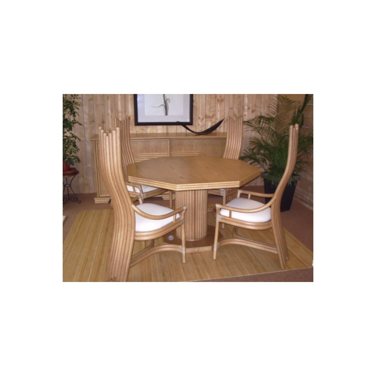 Table De Salon En Rotin Octogonale Pied Central