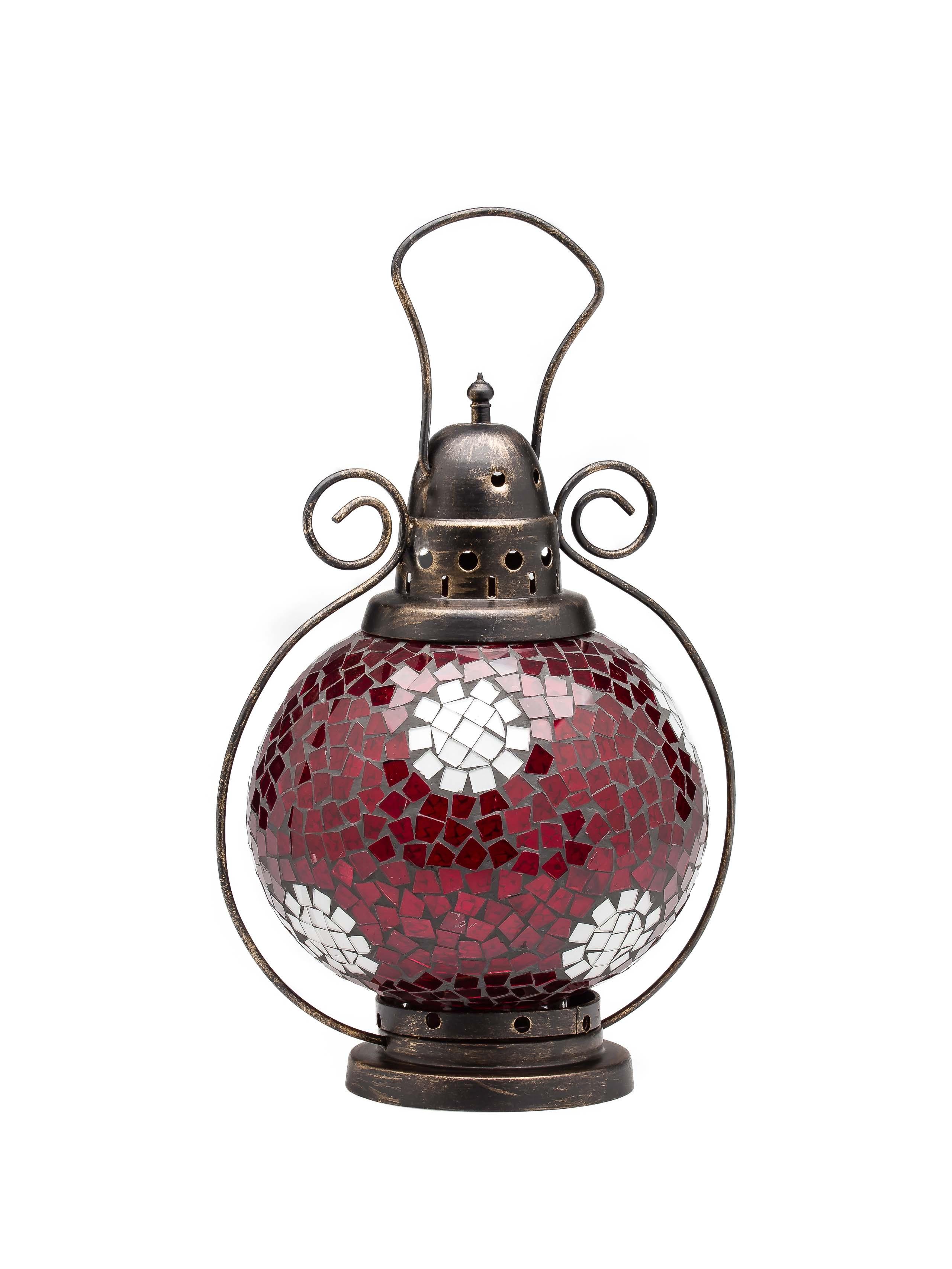Windlicht Laterne Lampe Teelicht Garten Terasse Haus Glas rot weiss 31cm  Aubaho