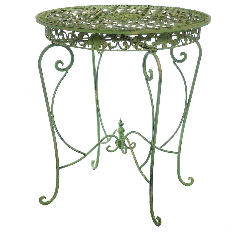 table de jardin style antique fer cremeuse verte