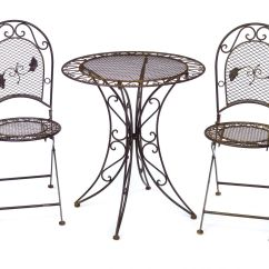 Vintage Wrought Iron Table And Chairs Floral Dining Antique Style Garden Furniture Set 2