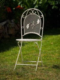 Foldable garden chair - antique style - iron - cream/white ...