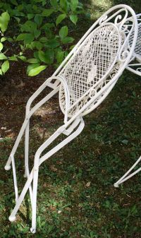 Foldable garden chairs - antique style - iron - cream ...