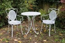 Garden Furniture Set - Table & 2 Chairs White Antique