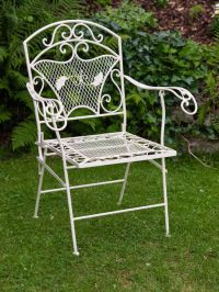 Foldable garden chair - armchair - antique style - iron ...