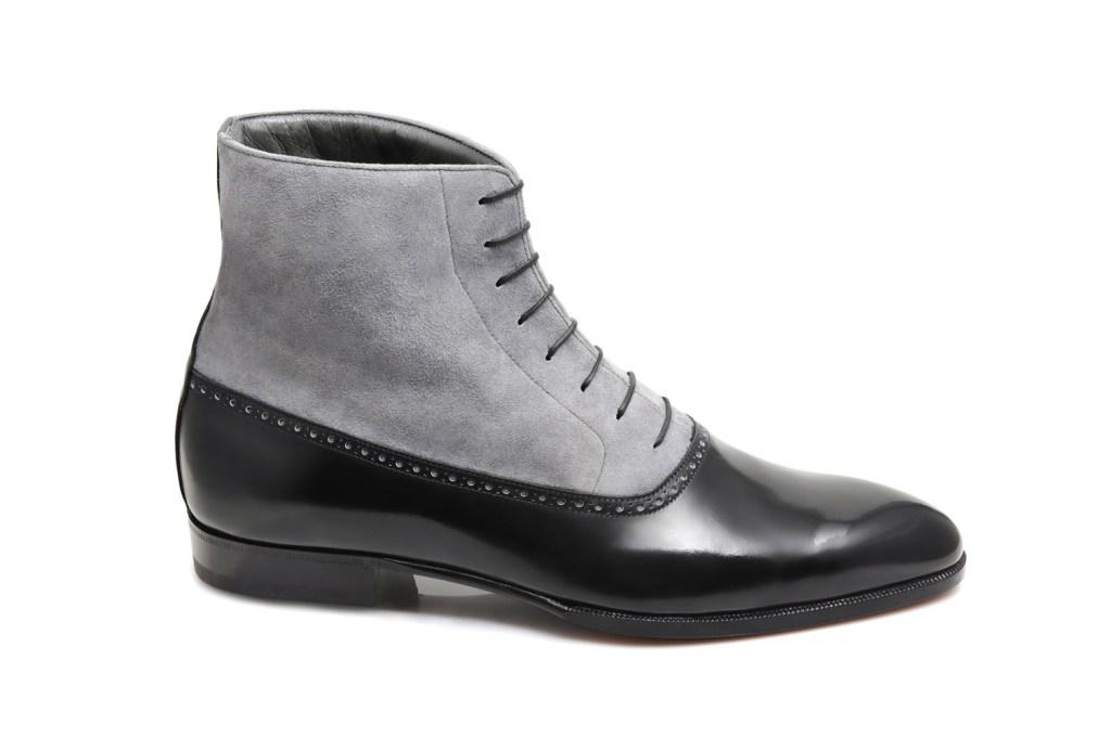 La bottine bi matière Alfred en daim gris et cuir noir