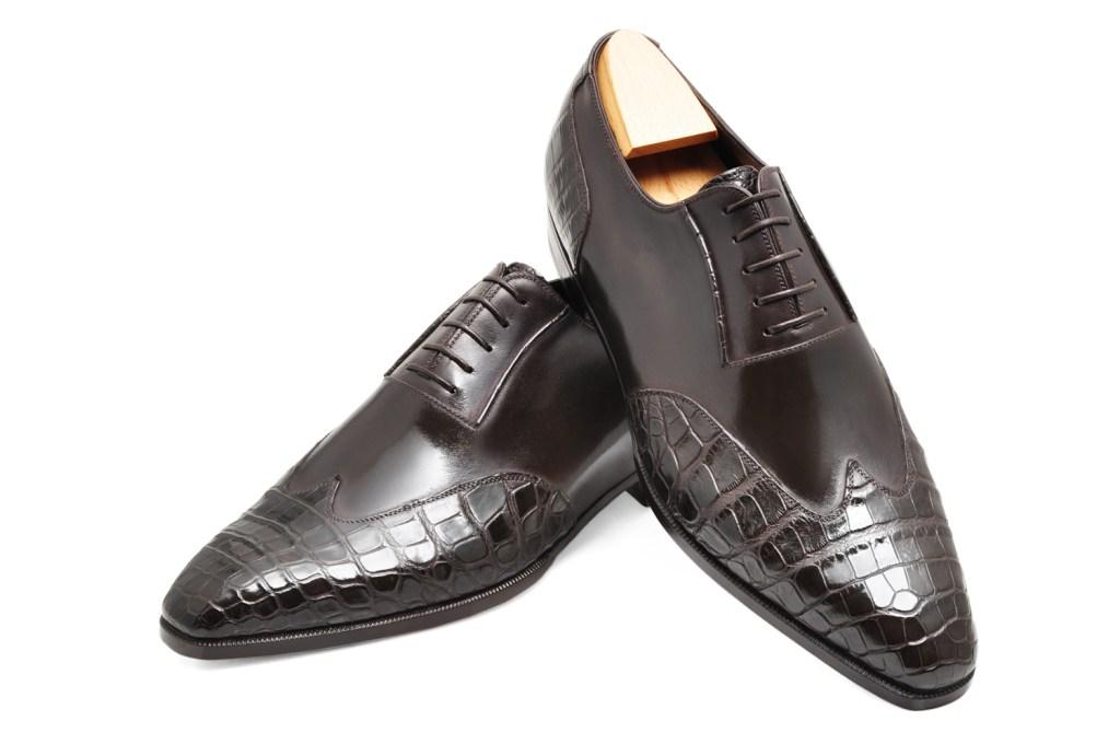 Le richelieu oxford Milton en bi matière cuir et crocodile